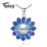 FENASY Pearl Jewelry Flower Necklace Genuine Natural Pearl Necklace Cloisonne Pearl Choker Pendant Women 2016 Enamel