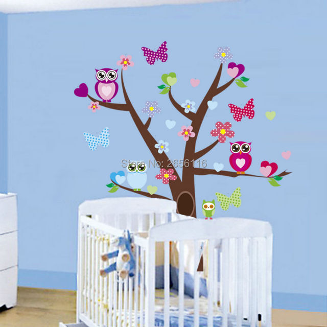 Babykamer Decoratie Boom.Uilen Boom Muurstickers Babykamer Decoratie Nursery Art Decal Mural
