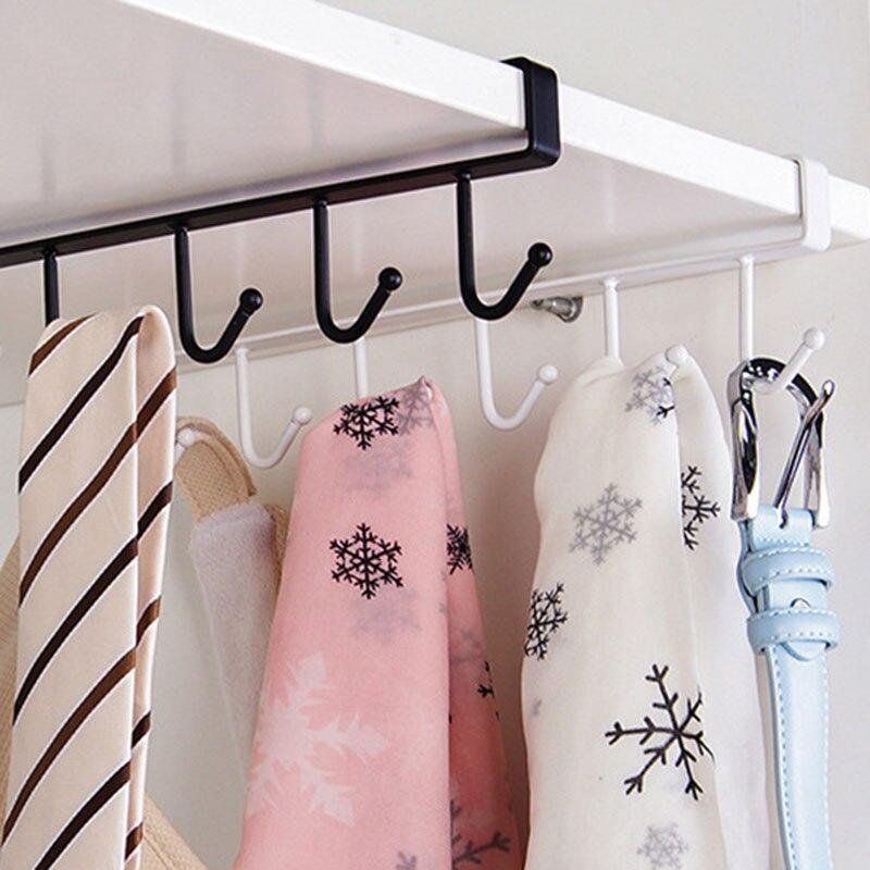2 Pcs Under Cabinet Hanger Rack 6 Hooks Kitchen Cupboard Storage Shelf Hook MAL999|Hooks & Rails| |  - title=