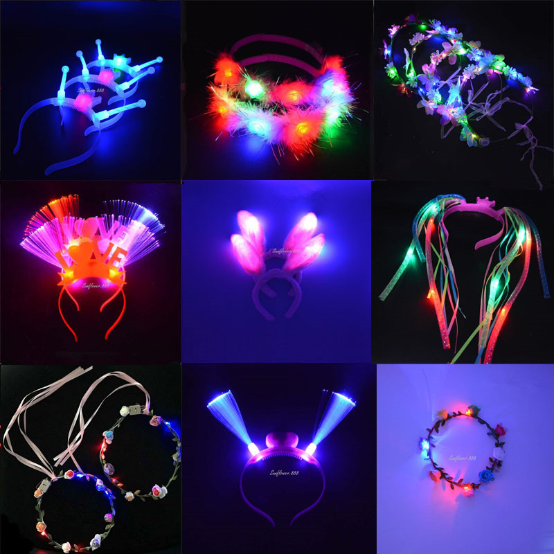 ⑦2018 múltiples LED intermitente diadema iluminan flor guirnalda ...