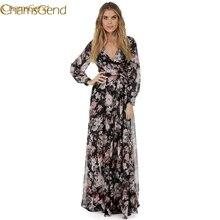 Fix2017 платье с длинным рукавом v-образным вырезом шифон Цветочные длинное вечернее Женское вечернее платье