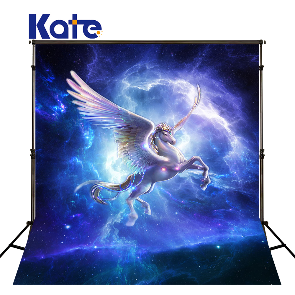 KATE Photography Backdrops Unicorn Children Backdrop Sfondo Natale Blue Background Photography Backdrop Kids for Photo Studio kate dry land photography backdrops land photography background retro children custom backdrop props for newborn photo shoot