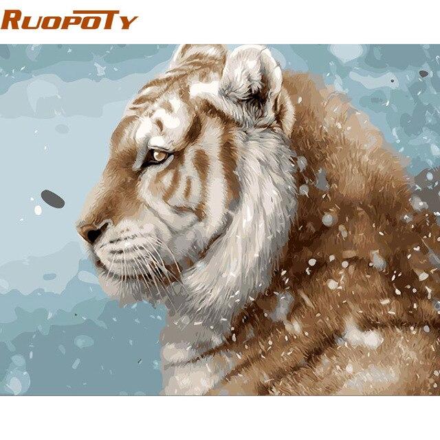 Us 602 49 Offruopoty Diy Rahmen Tiger Tiere Diy Malen Nach Zahlen Kit Malerei Kalligraphie Handgemalte Wandkunst Einzigartiges Geschenk Box Senden