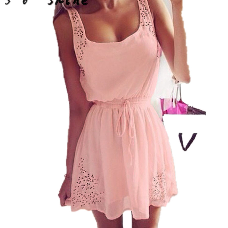 snowshine YLI Summer Women Casual Dresses Sleeveless Cocktail Short Mini Dress Pink free shipping