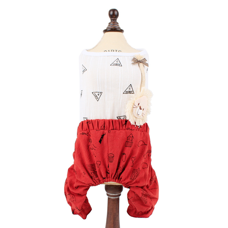 2018 New Pet Cat Clothes Kitten Sleeveless Shirt and Trousers Puppy Dog Costume Scrawl Suit Summer Cat Apparel Free Shipping