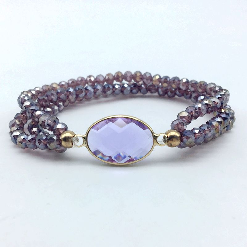 5 Colors Fashion Faceted Stone Bezels Connector Stretch Bracelet with Crystal Glass Beads 6 mm Elastic Extensive Jewelry 5
