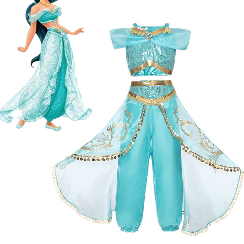 Girl Dress Arabian Princess Jasmine Dress up Rapunzel Costume Children Sequin Elsa Anna Cosplay Clothes Kid Halloween Party 6T(China)