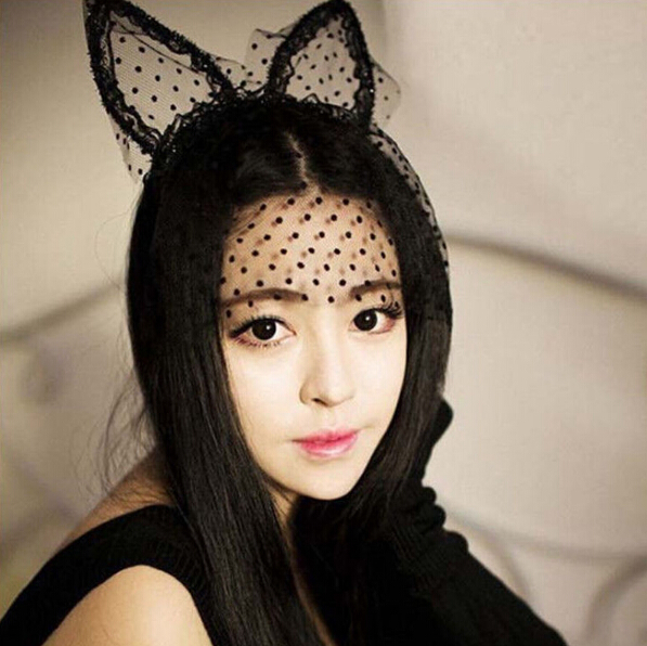 1PC Sexy Black Dot Cat Animal Ears Lace Gauze Veil Hair Mask Headband Headdress Night Club Hair Band Accessories