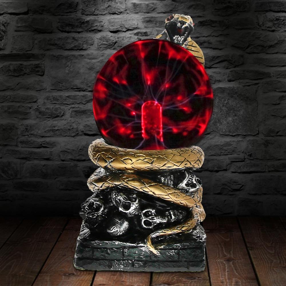 Bronze Snake Plasma Ball Novelty Lighting Touch Responsive Desk Home Art Decorative Lighting Figruine Statue Lamp