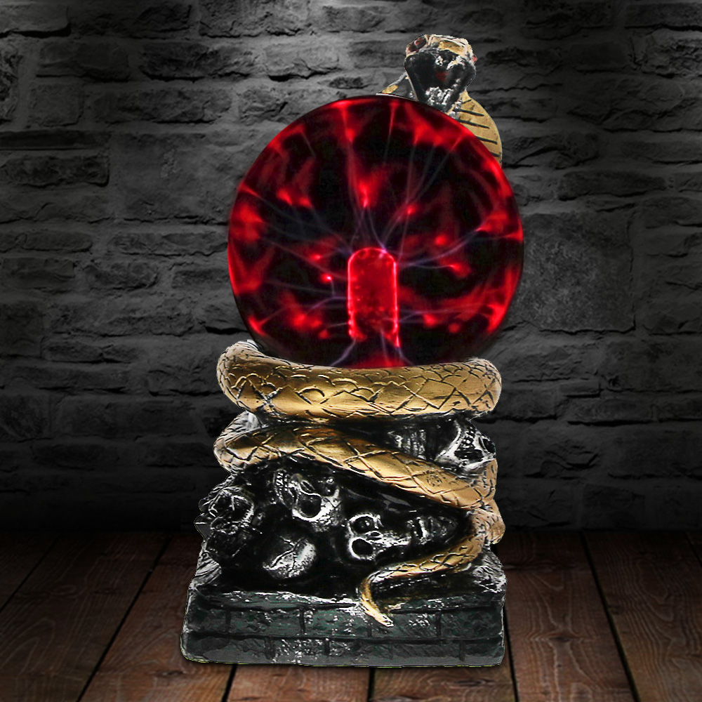 Bronze Snake Plasma Ball Novelty Lighting Touch Responsive Desk Home Art Decorative Lighting Figruine Statue Lamp