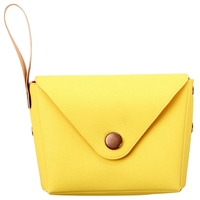 Candy Pu Wallet Small Key Wallet Handbag Children'S Wallet(Yellow)