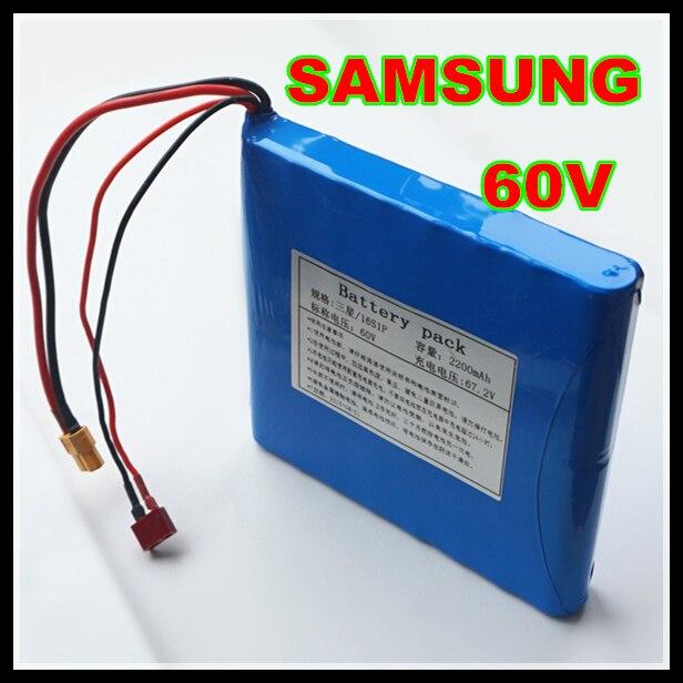 100% réel pour SAMSUNG 60 V dynamique Li-ion batterie Pack 2200 mAh pour monocycles électriques, e-scooters, e-vélos batterie externe