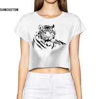 2017 Black Fierce Tiger Women New 3D Print Summer Fashion Crop Tops Street T Shirt Bare