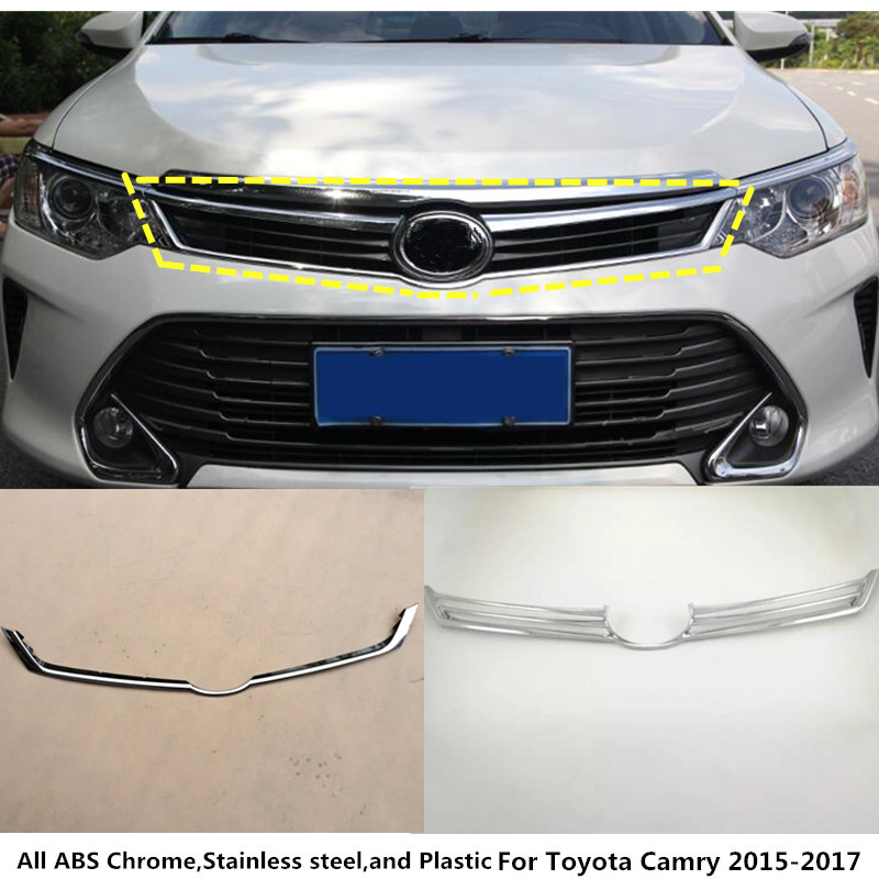 For Toyota Camry 2015 2016 2017 1pcs car body cover ABS Chrome front engine Machine racing grill grille hood lid trim molding for toyota corolla altis 2014 2015 2016 car body styling cover detector abs chrome trim front up grid grill grille hoods 1pcs
