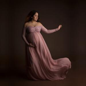 Image 2 - Bụi Hồng Voan Dài Đồ Chụp Ảnh Đầm Trái Tim Ngọt Ngào Cho Mẹ Ren Váy Đầm Cho Buổi Chụp Hình Khe Mở Mang Thai Đầm