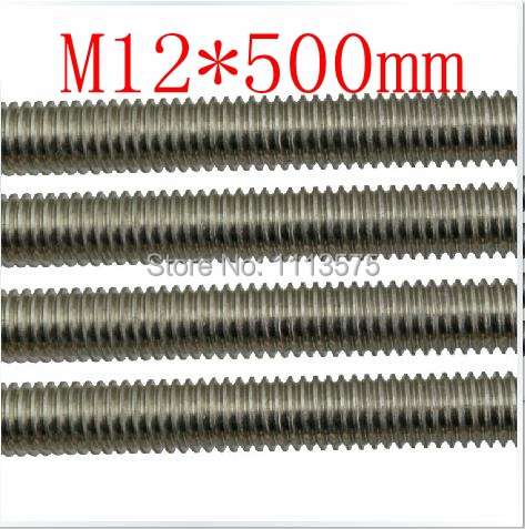 M12 500mm 304 321 316 stainless steel thread bar threaded rod nuts and bolts threaded bar