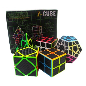2018 New Zcube Set 5pcs /box Carbon Fiber Magic Cube 2x2x2 3x3x3 Megamin pyramid Skew Magic Cubo Speed Puzzle Educational toys image