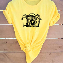 New Women Fashion Casual Short Sleeve Cute Photographer Came