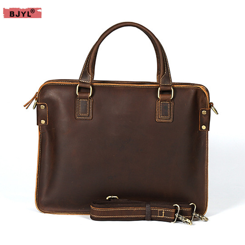 BJYL New 15 Laptop Crazy Horse Leather Men Business Bag Top Layer Leather Retro Briefcase Leather male Shoulder Messenger Bags designer second layer crazy horse leather briefcase men messenger shoulder bag laptop bag maletin hombre negocios bookbag b00021