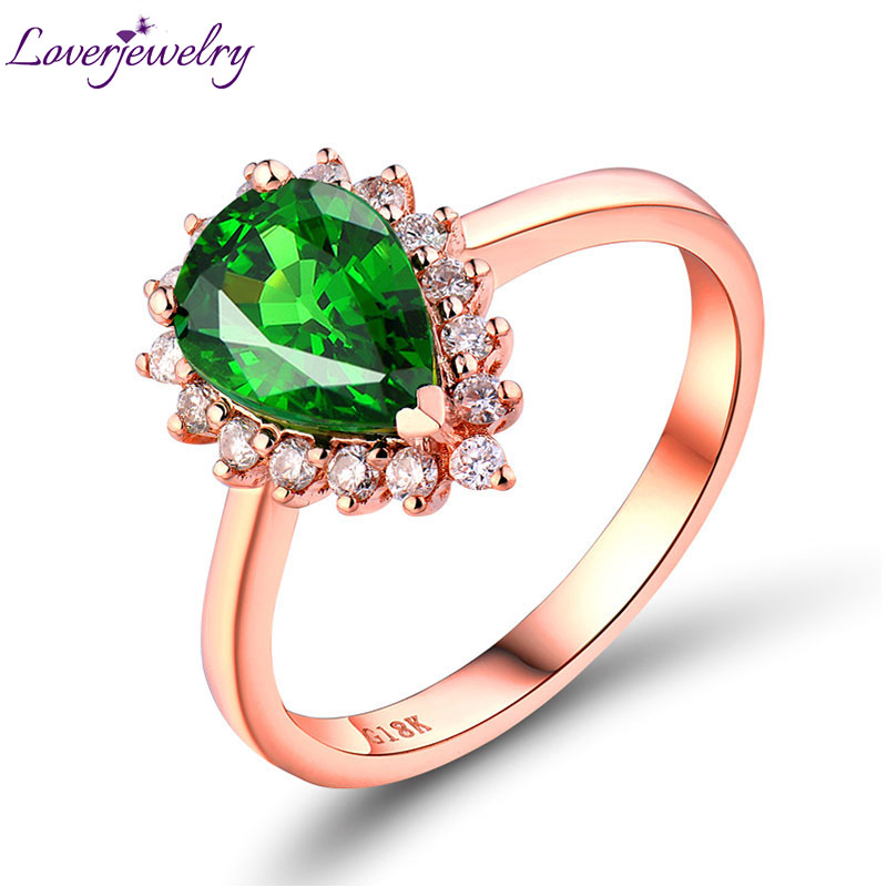 NEW Arrivals Engagement Pear 6x9mm 18Kt Rose Gold Natural Tsavorite Diamond Ring WU0080