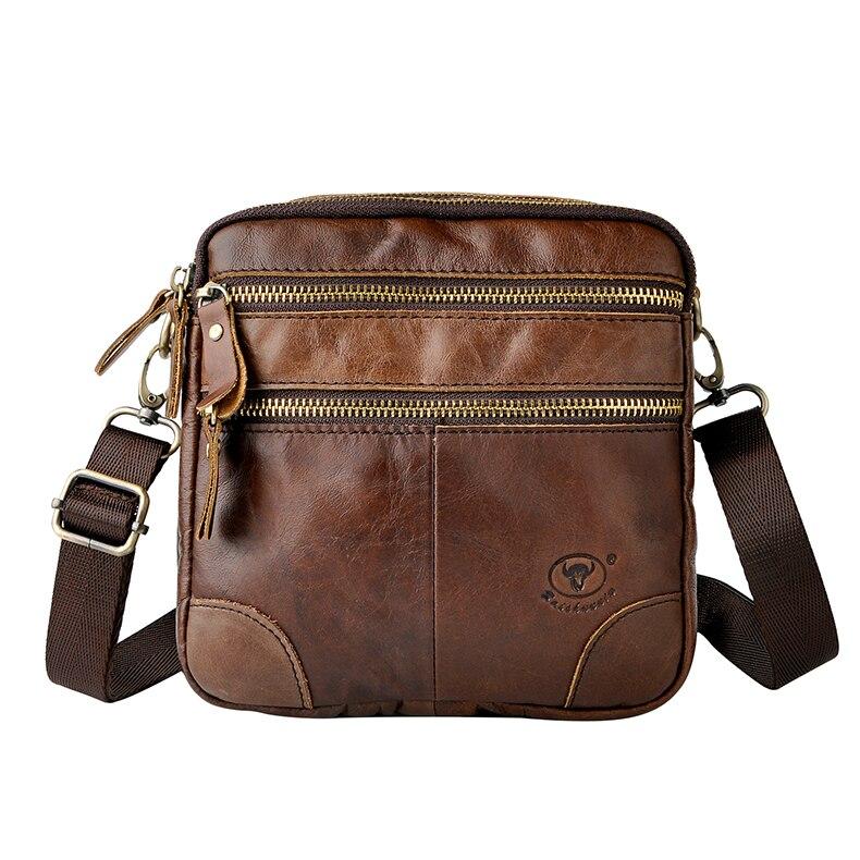 Vintage hommes voyage petits sacs à bandoulière fantaisie en cuir véritable sacs à bandoulière 7 pouces appareil photo téléphone Mini Packs homme sacs en cuir
