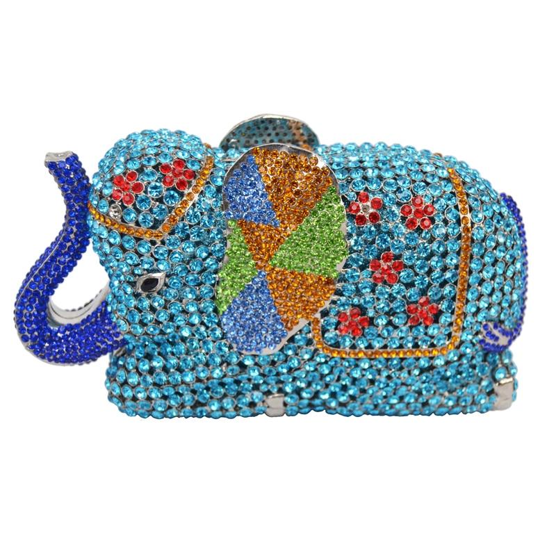 ФОТО Fashion Newest Luxury Crystal Diamond Elephant Evening Bag Deluxe Indian Rhinestones Metal Zinc Alloy Bridal Party Purse SC487