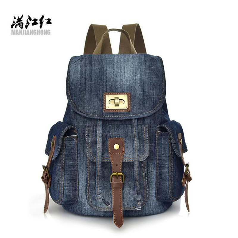 Fashion Anti-theft Women Backpack Wear-resisting Vintage Denim Bag Teenage Girls School Bbackpacks Casual Travel Bags M822