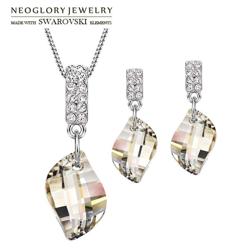 Neoglory Crystal & Rhinestone Jewelry Set Trendy Geometric Desain Kalung & Anting Dihiasi Dengan Kristal Dari Swarovski