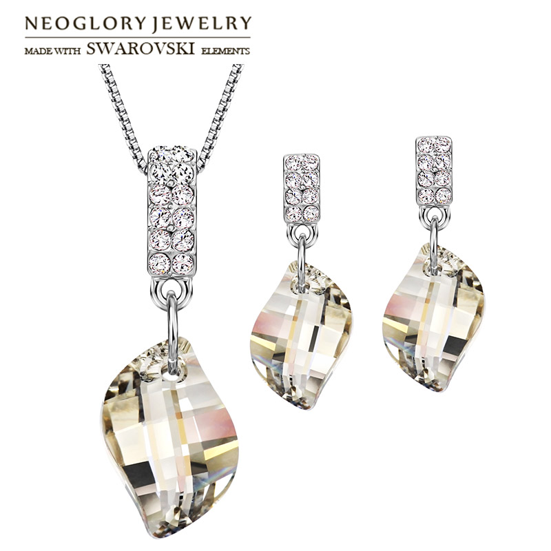 Neoglory MADE WITH SWAROVSKI ELEMENTS Crystal & Rhinestone Jewelry Set Trendy Geometric Design Necklace & Earrings For Gift Lady a suit of classy rhinestone faux pearl geometric necklace and earrings for women