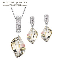 Neoglory MADE WITH SWAROVSKI ELEMENTS Crystal & Rhinestone Jewelry Set Trendy Geometric Design Necklace & Earrings For Gift Lady