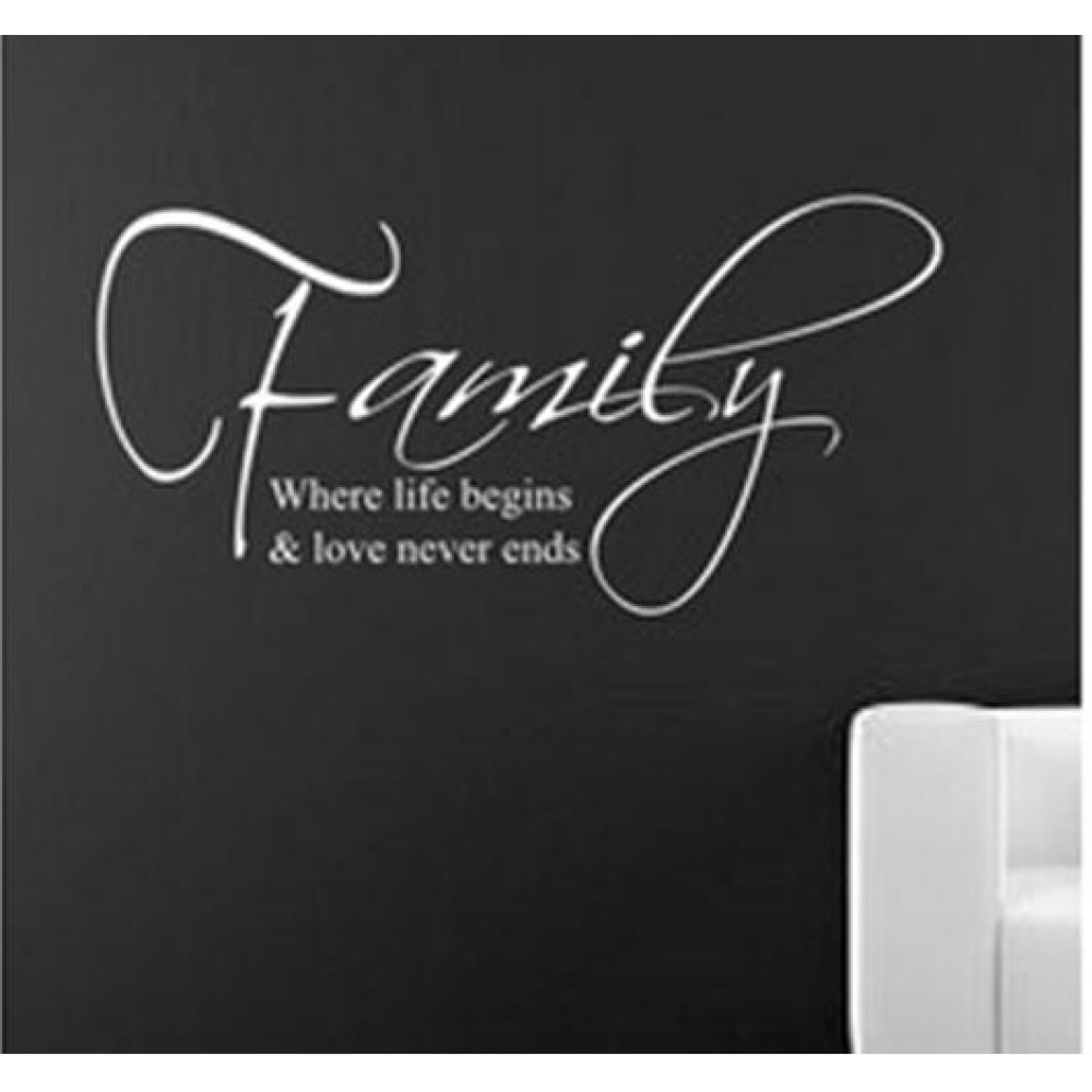 Love Never Ends Quotes Wall Stickers Family Decals Lettering Art For Living Room 8015