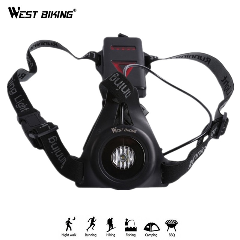 WEST BIKING Night Running Light Chest Body Torch USB Rechargeable LED Flashlight With Warning Taillight For Night Runners цена
