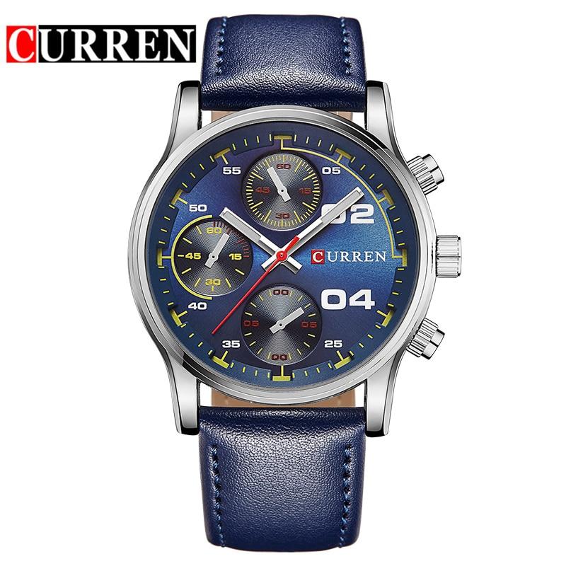 2017 Big Dial Men CURREN Watches Top Luxury Brand Blue Quartz Military Wrist Watch Men Clock Men's Watch Relogio Masculino 8207 curren 8223 casual big dial men quartz watch