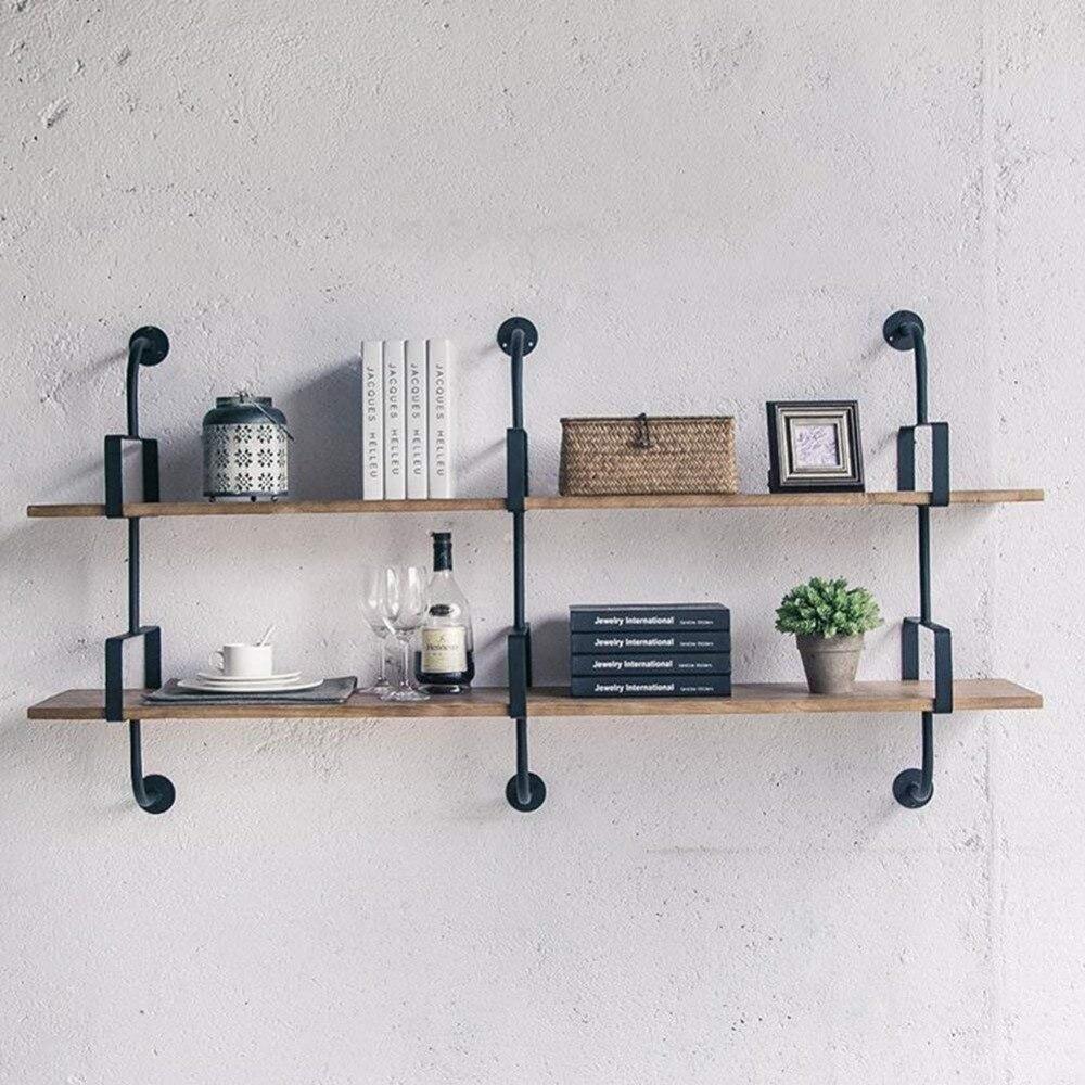 Wall Shelves Floating Shelf Wall Bookrack Iron Shelves Display Commodity Shelf Unit Room Divider Shelf Industry Style - 2