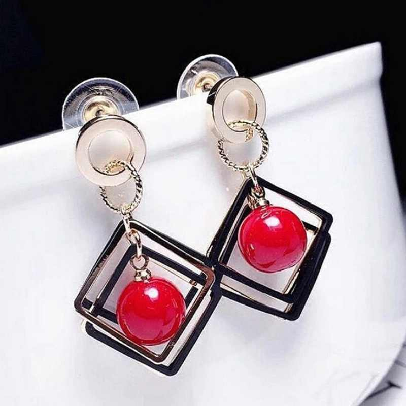 Korean Japan Sweet Geometric Rhombic Cherry Beads Large Earrings Women Fashion Pearl Jewelry Red White Elegant Party Earrings