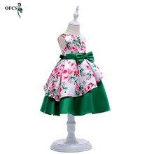 e26f2c09f 2018 جديد ملابس الطفل الرضيع فتاة فساتين أزياء الطباعة أكمام زلة فستان  الأميرة عيد الفتيات اللباس الصيف الوردي الأخضر