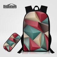 Dispalang Origami Pattern Men Women Backpack 2pcs Sets School Bags For Teenagers Geometry Print School Backpack
