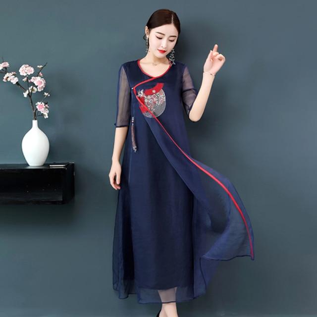 0997d0bd27aba Plus size silk Chinese retro dress women summer navy blue floral embroidery  long robe dresses elegant noble large 3xl 4xl clothe