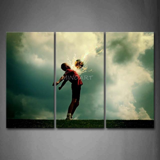 3 Piece Wall Art Painting A Kid And Soccer Surrounded By Fire Picture Print  On Canvas