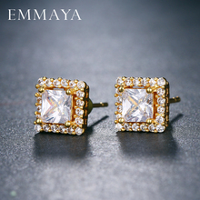 EMMAYA Square AAA CZ Stud Earrings for Women Deluxe Boucles doreilles Party Jewels brinco feminino zirconia