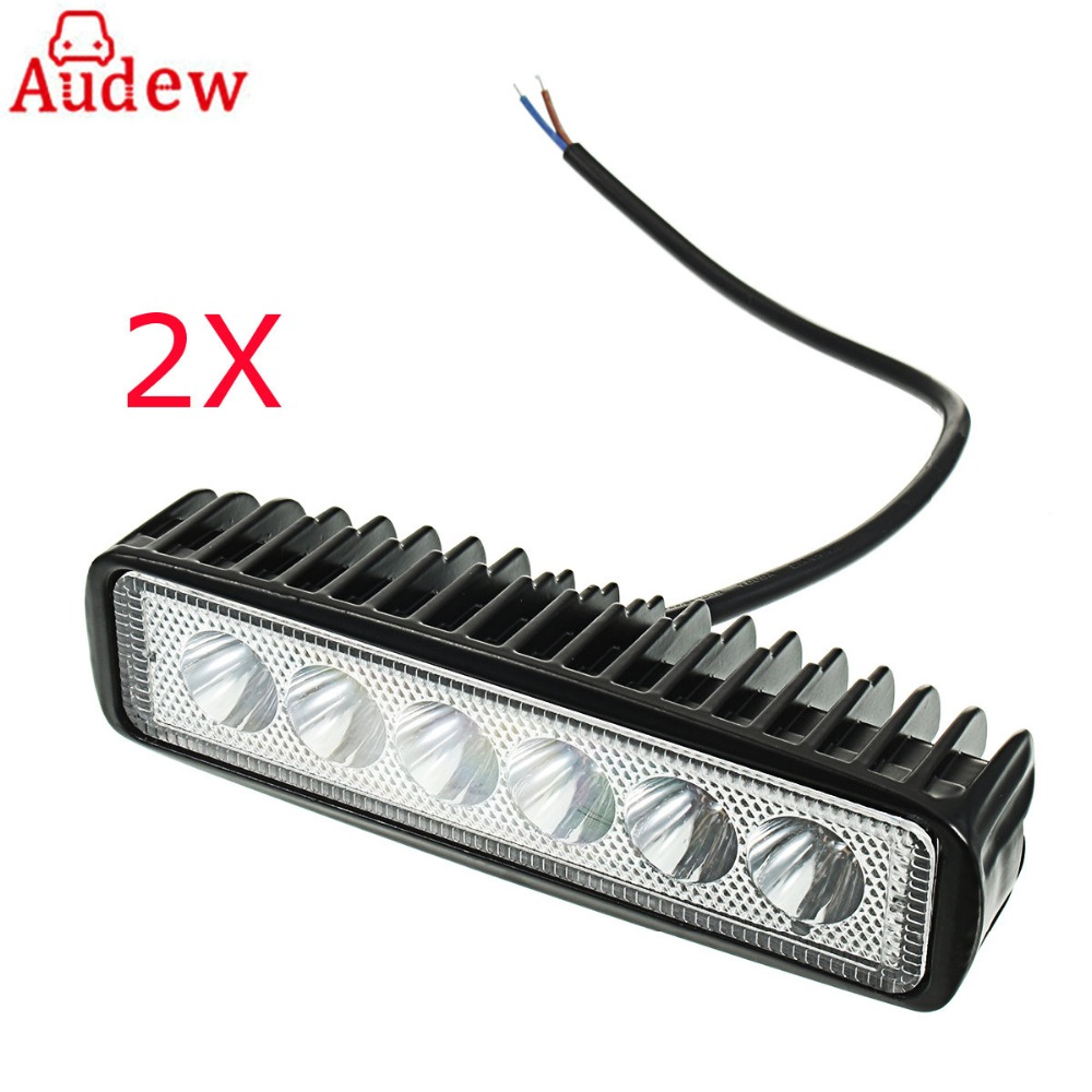 18W 2Pcs LED Car Work Light Bar Spotlight Flood Lamp Driving Fog Offroad LED Work Lamp for  SUV 4WD Boat Truck  9V-36V 12 inch 72w led work light bar for indicators motorcycle driving offroad boat car tractor truck flood 4x4 suv 12 24v fog light