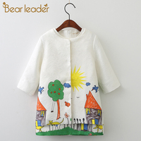 Bear Leader Girls Clothing Sets 2016 Brand Winter Grils Clothes Graffiti Printing Girls Outerwear Girls Dress