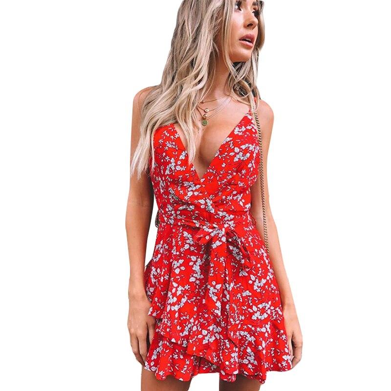 Bohemian floral women mini dress spaghetti strap V neck wrap sash print ruffle dresse femme Summer elegant holiday beach dress in Dresses from Women 39 s Clothing