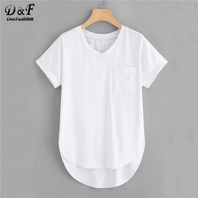 Dotfashion Plus Size White Dip Hem Pocket Tee Women 2019 Summer V Neck Short Sleeve Casual Tops Spring Fashion Solid T-Shirt