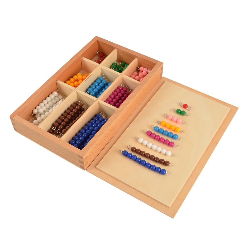 Montessori 9 Colors Beads Bar Box,Children's Mathematics Learning Aids 9 Colors x 9 Bars montessori mathematics material 1 9 beads bar in wooden box early preschool toy p101