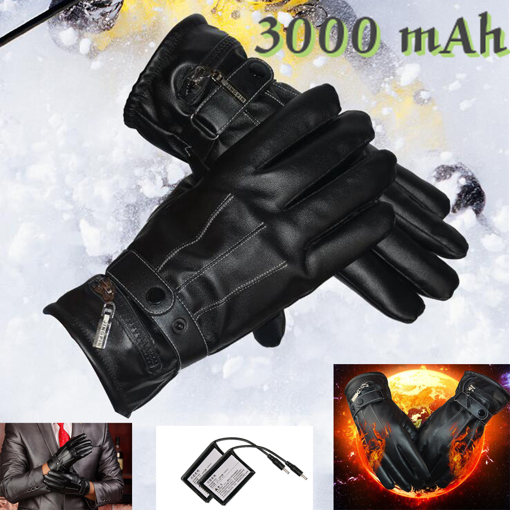 3000mAh Rechargeable Battery Heating Leather Windproof Winter Warm Ski Outdoor Work Motorcycle Electric Heated Hands Gloves 1 pair 4000mah rechargeable battery with smart switch on off electric heated warm glove winter outdoor work ski warmer gloves