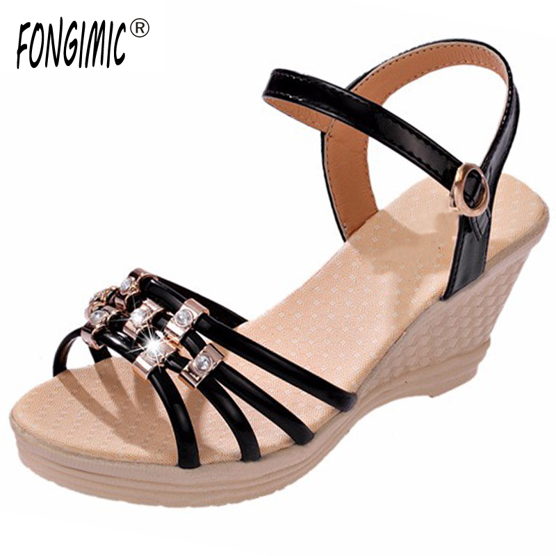 High quality women ladies sandals wedges ankle strap fashion shoes female buckle strap brand solid color casual sandals hot sell women wedges 2015 high heels sandals ladies shoes new fashion beach flip flops ankle strap buckle high quality