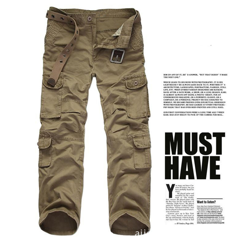 Men's military Pocket cargo pants Men camouflage army sweat pant 2017 Spring Casual pants Plus size 28 38 wear durable - 4