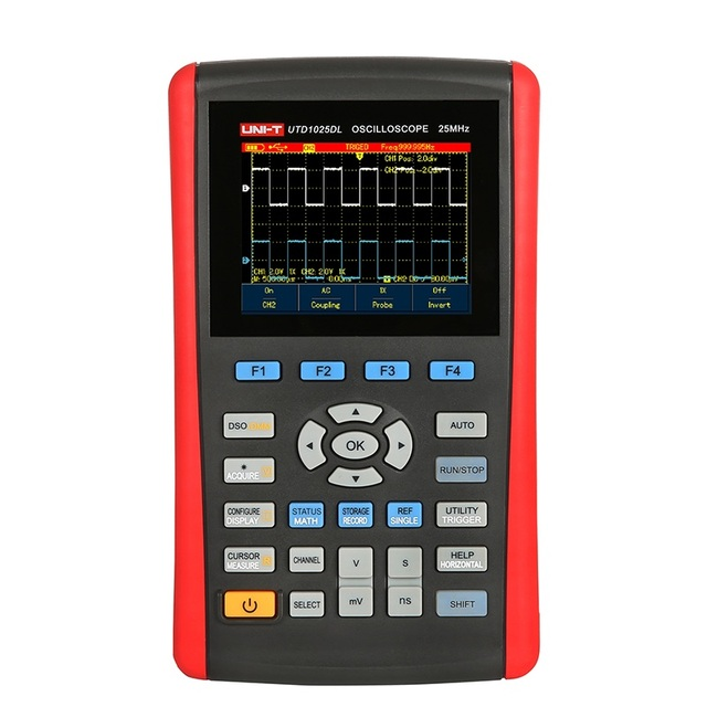 "Big Promo UNI-T 2 Channels UTD1025DL 25MHz UTD1050DL 50MHz Handheld Digital Storage Oscilloscopes 250MSa 3.5""LCD Fully Auto Scale"