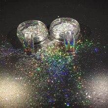 1 scatola Galaxy Holo Fiocchi Laser Bling Arcobaleno Macchie Chrome Effetto Magico Irregolare Unghie artistiche Glitter Polveri BE323 1